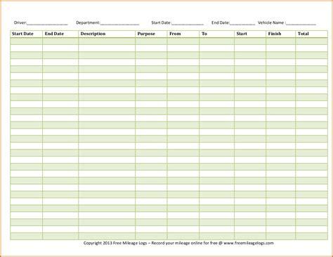 mileage log template free 5 mileage log template authorizationletters org