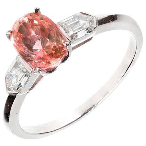 padparadscha sapphire no heat pink padparadscha sapphire platinum ring