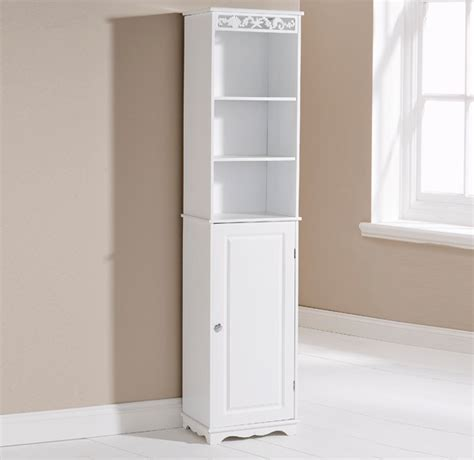 Bathroom Storage Cabinets Floor Bathroom Cabinet White Wooden Floor Standing Cubpoard 1 Door 3 Shelves