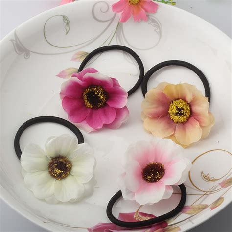 6 Beautiful Floral Headbands For And Summer by Beautiful Fabric Flower Rubber Headbands Gum For Hair