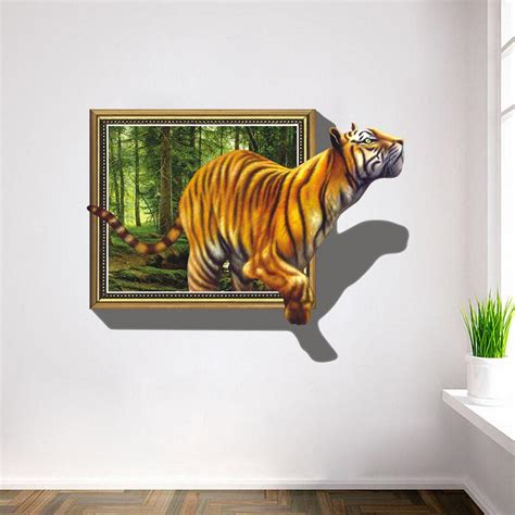 3d Wall Sticker 15968269 2017 Wall Stickers 3d Tigers Picture Frame Large Pvc