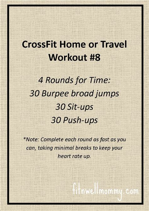 crossfit home or travel wod 8 deliciously fit