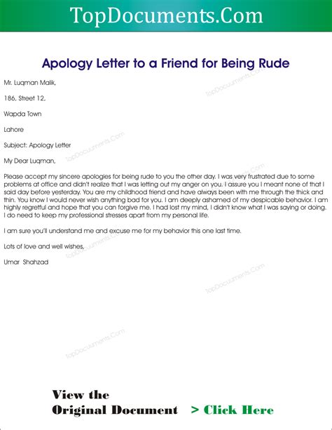 Apology Letter To For Being Rude Apology Letter To A Friend Top Docx