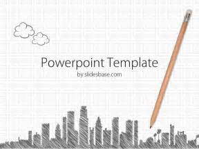 paper city template sketch a city powerpoint template slidesbase