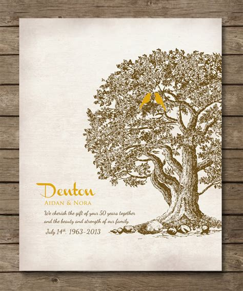 Wedding Anniversary Gifts Oak by 50th Wedding Anniversary Tree Gift Anniversary By