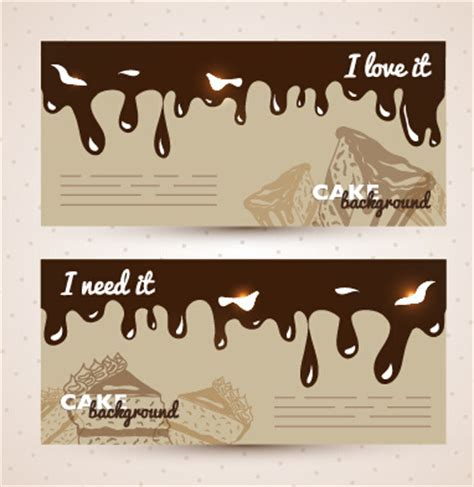 chocolate with cupcake banners background vector free
