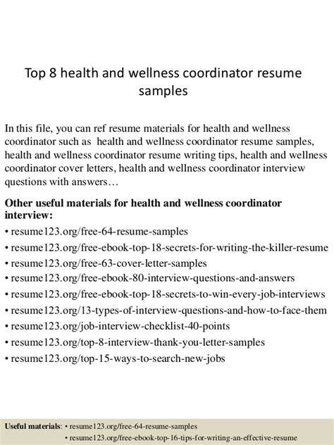 Health And Wellness Director Cover Letter by Top 8 Health And Wellness Coordinator Resume Sles