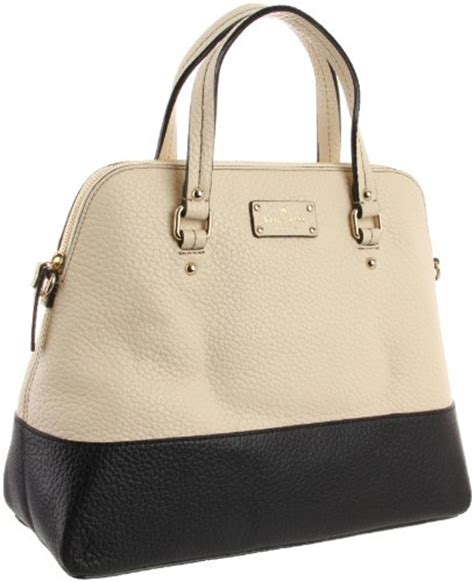 Tas Kate Spade New York Grove Court Maise Satchel 412 Semi Platinum detail of kate spade new york grove court large maise pxru3613 satchel buttermilk black one