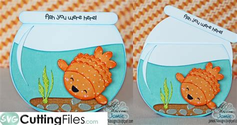 fish bowl card template fishbowl slider card svg cutting file