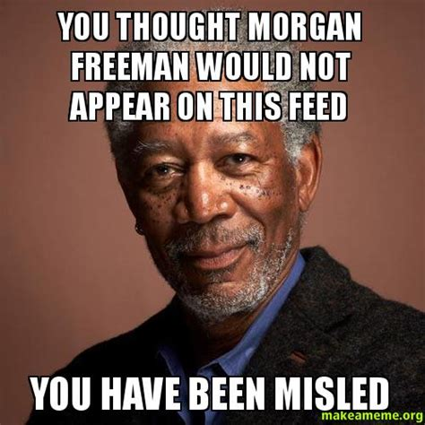 Morgan Meme - you thought morgan freeman would not appear on this feed you have been misled make a meme