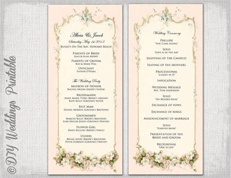 wedding ceremony order of service template free printable wedding program template