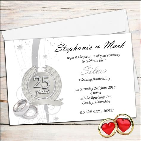 25th wedding anniversary invitations templates anniversary invitations 25th silver wedding anniversary