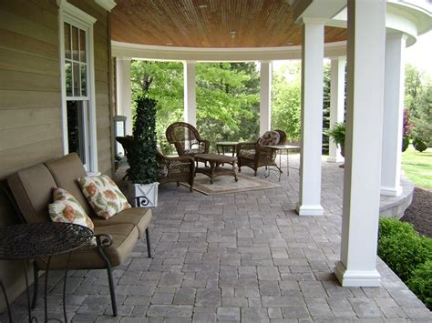 covered front porch plans 2018 brick pavers enhance the feel of the covered front porch homeoholic
