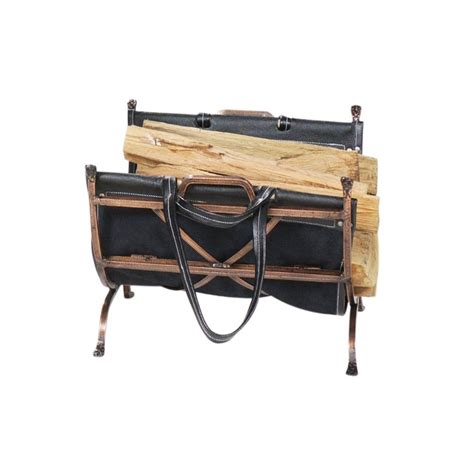 uniflame antique copper firewood rack with black leather