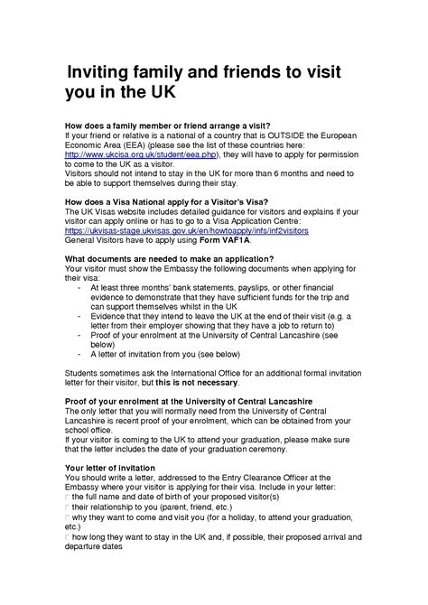 Visa Letter Of Invitation Uk For Family invitation letter uk visa family letters free sle