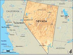 geographical map of nevada and nevada geographical maps