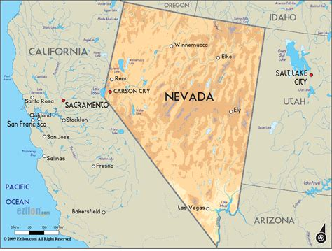 geographical map  nevada  nevada geographical maps