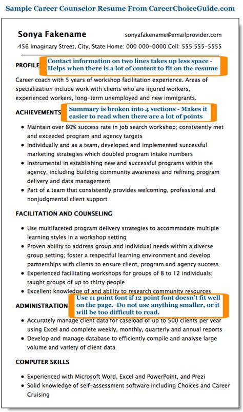 Sample Resume Skills Profile Examples by Sample Career Counselor Resume