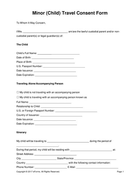 free minor child travel consent form pdf word