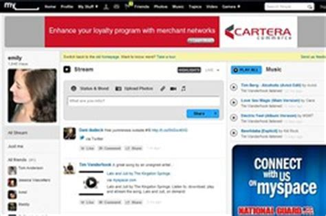 myspace test drives a new homepage that looks a lot like