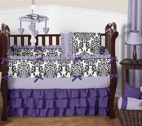 Lavender Purple Black And White Sloane Baby Bedding Purple And Black Crib Bedding
