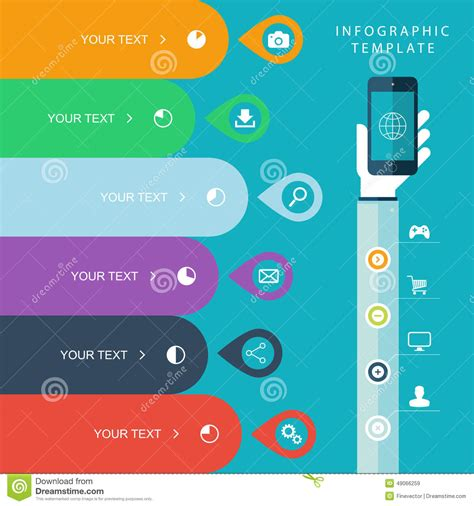 work plan layout sles info graphic template with hand holding phones for