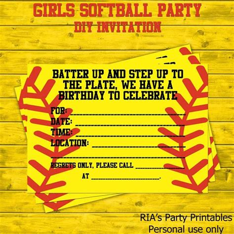 Girls Softball Party Diy Party Invitation Softball Invitation Template