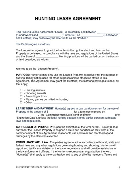 printable hunting lease agreement house lease template lease agreement sle oklahoma