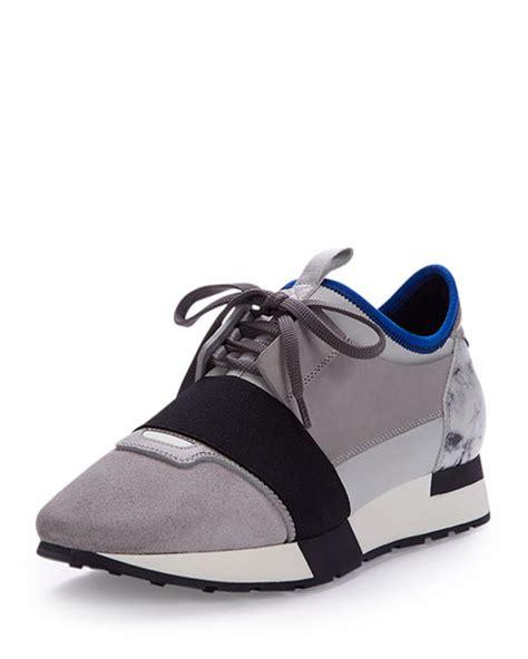balenciaga sneaker sale balenciaga mixed media leather sneaker gray blue