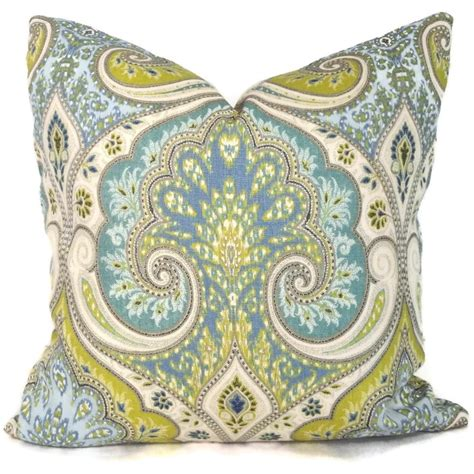 lime green and blue ikat decorative pillow cover 18x18