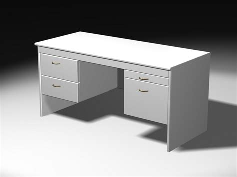 Free Office Desk White Office Desk 3d Model 3ds Max Files Free Modeling 24751 On Cadnav