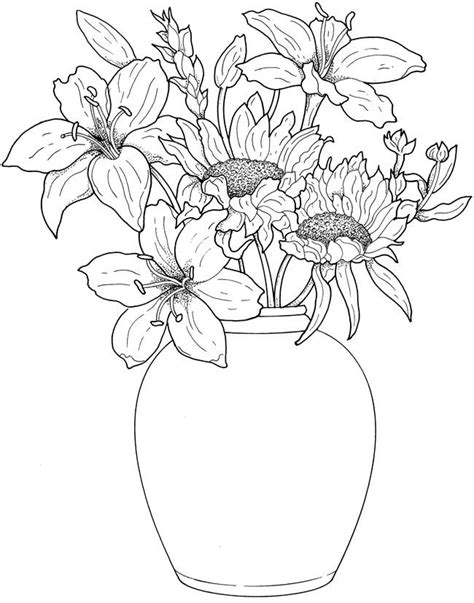 coloring page of vase with sunflowers drawn sunflower vase drawing pencil and in color drawn