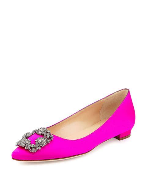 fuschia flat wedding shoes manolo blahnik pink hangisi buckle satin flats