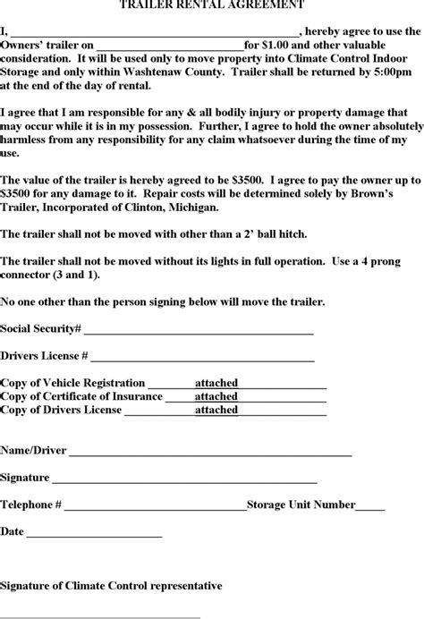Trailer Rental Agreement Template Resume Template Sle Trailer Lease Agreement Template Free