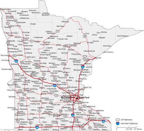 minnesota state map the map of minnesota state free printable maps