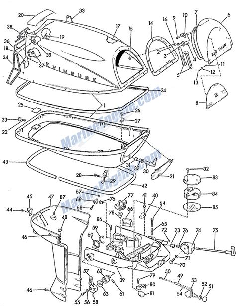 evinrude etec parts diagram evinrude big motor cover parts for 1962 28hp 35028