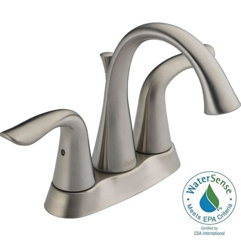 delta faucets bathroom shower delta lahara 4 in centerset 2 handle high arc bathroom faucet in stainless 25938lf ss the