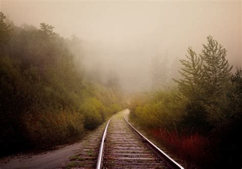 railway    mist  ultra hd wallpaper