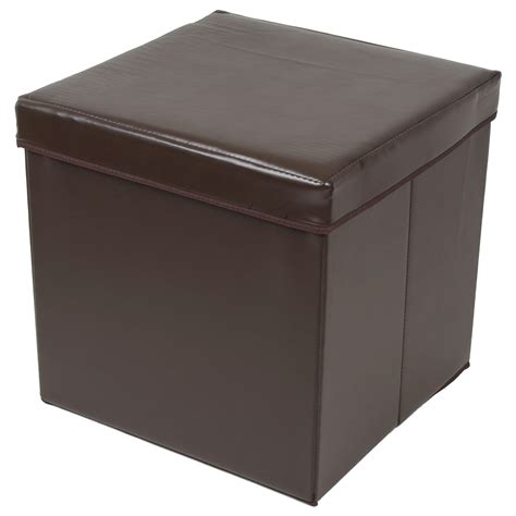Folding Storage Stool With Lid Brown Faux Leather 38cm Leather Storage Cube Ottoman