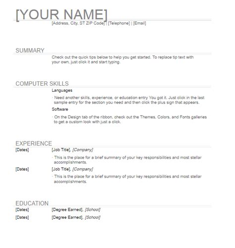 general resume template free word templates