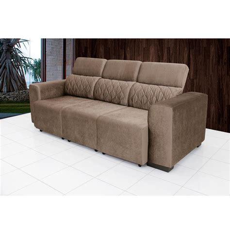 sofa retratil e reclinavel sof 225 4 lugares linoforte fluence com tecido em suede