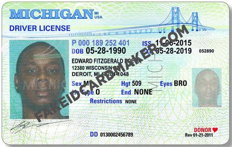 michigan id card template michigan driver license id id card maker