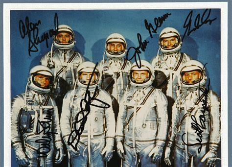 10 By 10 Matted 6 By 6 - lot detail mercury 7 astronauts 8x10 photo framed and
