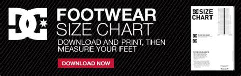 shoe size chart dc sizing charts dc shoes