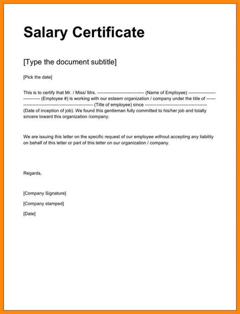 certification letter format exle 10 salary certificate format in word resumed