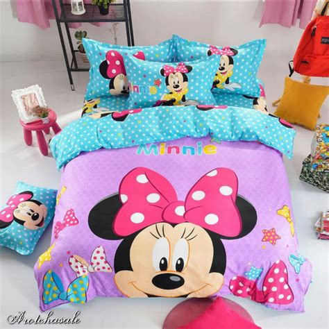 Minnie Mouse Bedding Set Disney Minnie Mouse Bedding Set Sheet Duvet Cover With 2 Pillowcase Size Ebay