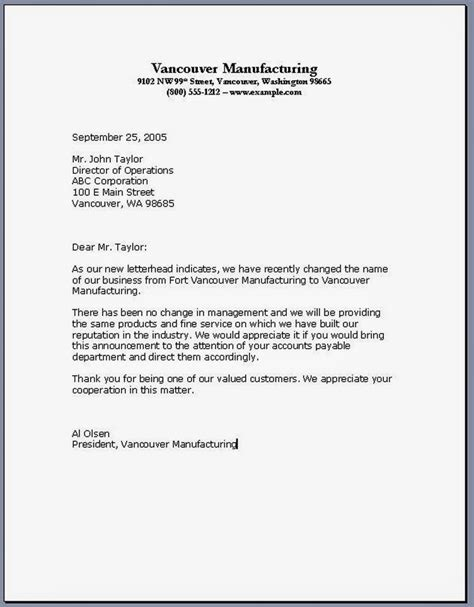 Change In Personnel Letter