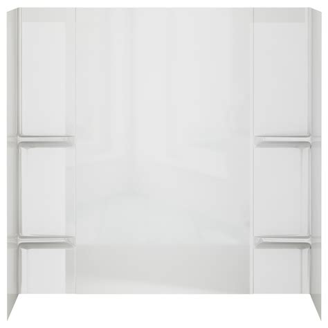 shop peerless high gloss white styrene bathtub wall