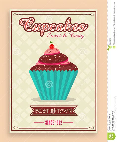 Flyer Or Menu Card For Cupcake Corner. Stock Photo   Image