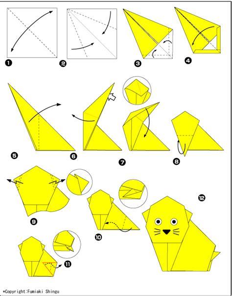 Origami Kitten - origami kitten scheme of paper in the